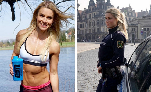 德国女警晒马甲线 好身材一览无遗