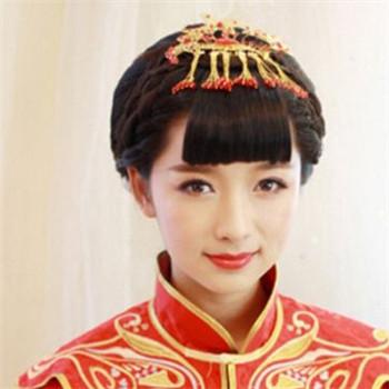 中式婚纱照新娘造型 中式新娘复古发型图片